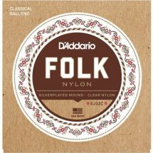 D'Addario EJ32C Folk Nylon Ball End Silver Wound Clear Treble