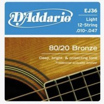 D'Addario EJ36 80/20 Bronze Light 12-String (10-47)